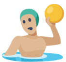 Man Playing Water Polo Emoji with Medium-Light Skin Tone, Facebook style