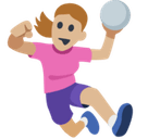 Woman Playing Handball Emoji with Medium-Light Skin Tone, Facebook style