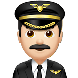 Man Pilot Emoji with a Light Skin Tone, Apple style