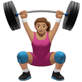 Woman Lifting Weights Emoji with a Medium Skin Tone, Apple style