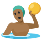 Man Playing Water Polo Emoji with Medium-Dark Skin Tone, Facebook style