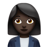 Woman Office Worker Emoji with a Dark Skin Tone, Apple style