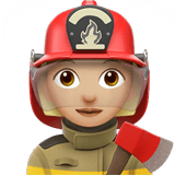 Woman Firefighter Emoji with a Medium-Light Skin Tone, Apple style