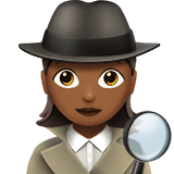 Woman Detective Emoji with a Medium-Dark Skin Tone, Apple style