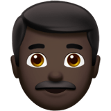 Man Emoji with Dark Skin Tone, Apple style