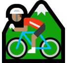 Person Mountain Biking Emoji with a Medium Skin Tone, Microsoft style