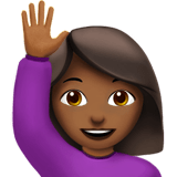 Person Raising Hand Emoji with a Medium-Dark Skin Tone, Apple style