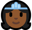 Princess Emoji with Medium-Dark Skin Tone, Microsoft style
