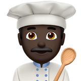 Man Cook Emoji with a Dark Skin Tone, Apple style