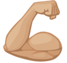 Flexed Biceps Emoji with Medium-Light Skin Tone, Facebook style