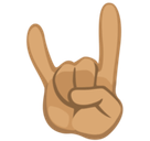 Sign of the Horns Emoji with a Medium Skin Tone, Facebook style