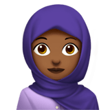 Woman with Headscarf Emoji with Medium-Dark Skin Tone, Apple style