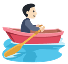 Person Rowing Boat Emoji with Light Skin Tone, Facebook style
