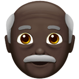 Old Man Emoji with a Dark Skin Tone, Apple style