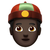 Man with Chinese Cap Emoji with a Dark Skin Tone, Apple style