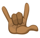 Love-You Gesture Emoji with Medium-Dark Skin Tone, Facebook style