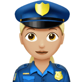 Woman Police Officer Emoji with Medium-Light Skin Tone, Apple style