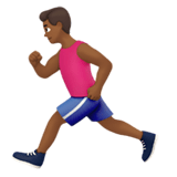 Man Running Emoji with Medium-Dark Skin Tone, Apple style