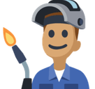 Man Factory Worker Emoji with Medium Skin Tone, Facebook style