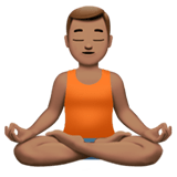 Man in Lotus Position Emoji with Medium Skin Tone, Apple style