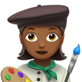 Woman Artist Emoji with a Medium-Dark Skin Tone, Apple style
