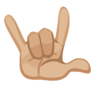 Love-You Gesture Emoji with Medium-Light Skin Tone, Facebook style