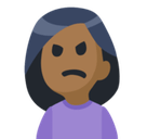 Person Frowning Emoji with a Medium-Dark Skin Tone, Facebook style