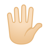 Hand with Fingers Splayed Emoji with Light Skin Tone, Google style