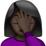 Woman Facepalming Emoji with Dark Skin Tone, Apple style