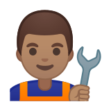 Man Mechanic Emoji with a Medium Skin Tone, Google style