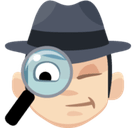 Man Detective Emoji with Light Skin Tone, Facebook style