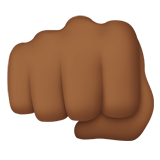 Oncoming Fist Emoji with a Medium-Dark Skin Tone, Apple style