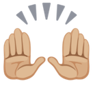 Raising Hands Emoji with a Medium-Light Skin Tone, Facebook style