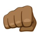 Oncoming Fist Emoji with a Medium-Dark Skin Tone, Facebook style