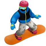 Snowboarder Emoji with Medium-Dark Skin Tone, Apple style