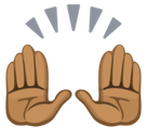 Raising Hands Emoji with a Medium-Dark Skin Tone, Facebook style