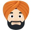 Man Wearing Turban Emoji with Light Skin Tone, Facebook style