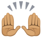 Raising Hands Emoji with a Medium Skin Tone, Facebook style