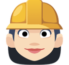 Woman Construction Worker Emoji with Light Skin Tone, Facebook style