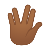Vulcan Salute Emoji with Medium-Dark Skin Tone, Google style