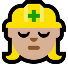 Woman Construction Worker Emoji with Medium-Light Skin Tone, Microsoft style
