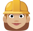 Woman Construction Worker Emoji with Medium-Light Skin Tone, Facebook style