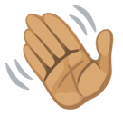 Waving Hand Emoji with a Medium Skin Tone, Facebook style