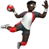 Man Playing Handball Emoji with Dark Skin Tone, Apple style
