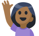 Person Raising Hand Emoji with a Medium-Dark Skin Tone, Facebook style