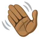 Waving Hand Emoji with a Medium-Dark Skin Tone, Facebook style
