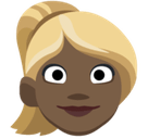 Woman: Dark Skin Tone, Blond Hair, Facebook style