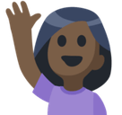 Person Raising Hand Emoji with a Dark Skin Tone, Facebook style
