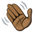 Waving Hand Emoji with a Dark Skin Tone, Facebook style