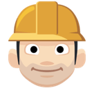 Man Construction Worker Emoji with Light Skin Tone, Facebook style